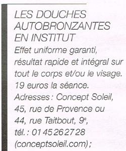 Autobronzants Et Douches Autobronzantes En Institut Dans La Parisienne Du 1er Juin 2013 Douche