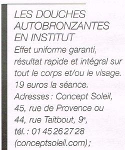 Autobronzants et douches autobronzantes en institut dans la parisienne du 1er juin 2013 douche Douche autobronzante lyon